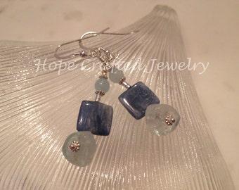 Kyanite, Aquamarine, Sterling Silver Earrings (E005KA)