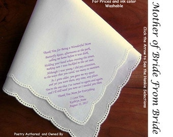 Mother of the Bride Gift Handkerchief  0107 Sign & Date for Free!   5 MOB Wedding Hankerchief Styles and 8 Ink Colors.