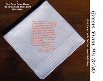 Grooms Gift Handkerchief From Bride 0713 Sign & Date Free  2 Wedding Hankie Styles and 8 Ink Colors. Grooms Handkerchief from Bride