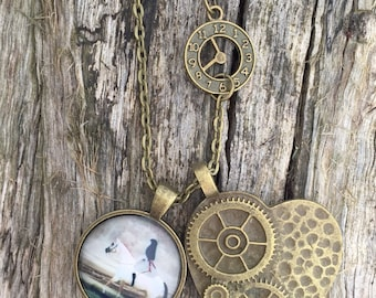 Steampunk inspired antique bronze pendant necklace