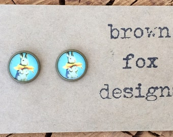 Vintage bunny rabbit with bow antique bronze stud earrings easter