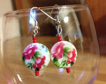 Pink Floral Glass Beaded Earrings