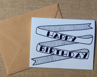 Happy Birthday Banner Card in Light Blue and Navy