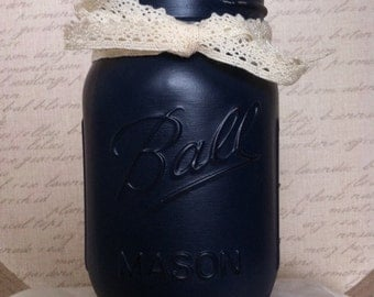 Navy Blue, Distressed, Painted Mason Jar