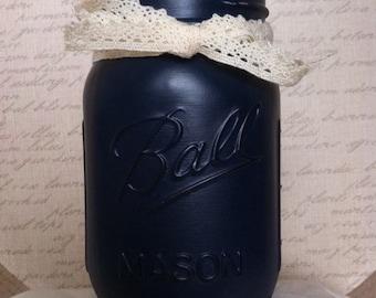 Navy Blue, Distressed, Painted Mason Jar pint size