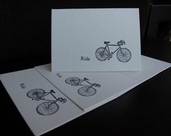 Letterpress Bicycle Notecard, 4bar, blue black ink on Lettra Crane cardstock, 1 card with envelope