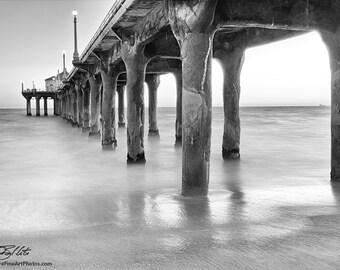 Black & White Pier Photo - Photograph of Manhattan Beach Pier in Black and White