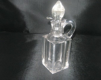 Square Clear Glass Cruet With Glass Stopper