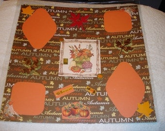 Premade 12x12 Scrapbook Page - THANKSGIVING/AUTUMN
