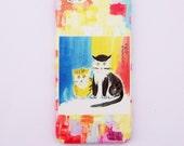 Lovely cats  iphone 6/6 plus case iphone4/4s case Samsung S5/S4 case iphone 5/5s /5c case impasto print phone case kit print phone cover
