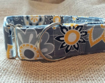 Grey and Yellow Flower Fusion Martingale Dog Collar size Large