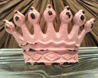 """2 Crown Pink 3 1/4"""" Princess Queen Royal Antique Old World Metal Knobs"""