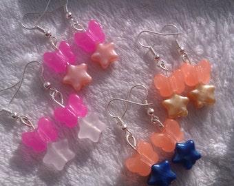Butterfly and stars dangle earrings