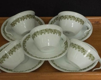 Set of Five Vintage Corelle Corning Pyrex Milkglass Tea/Coffee Cups & Saucers - c1960s
