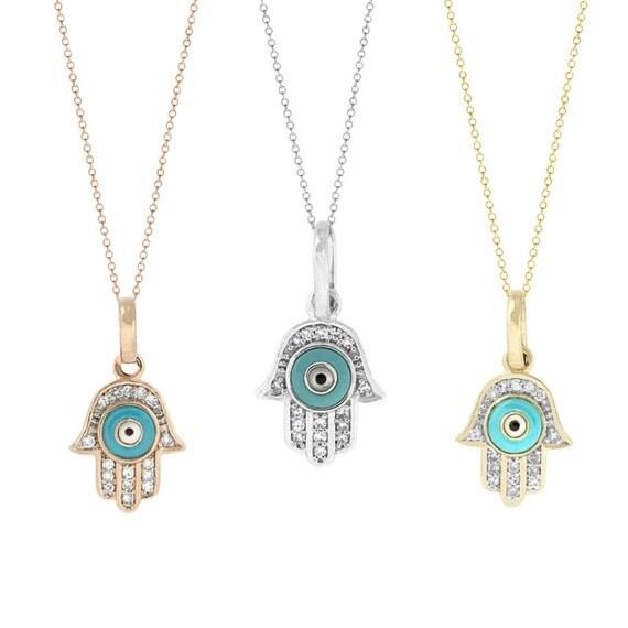 Tousi hamsa hand diamond pendant of judaica evil eye charm like this item aloadofball Images