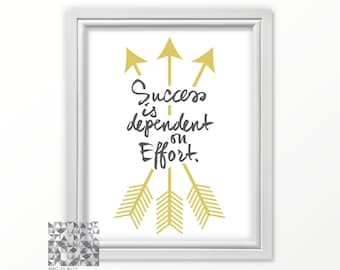 Success Quotes, Key to Success, Inspirational Quote, Typographic Print, Digital Print,Art Print, Success Quote Print : A0244 gray gold