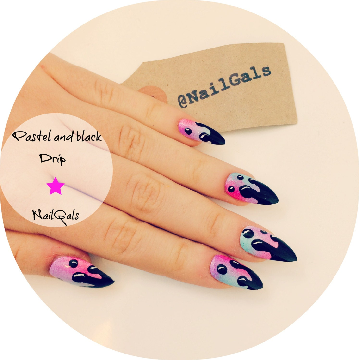 Today Live Sports: Matte or Glossy Pastel and Black Drip Stiletto ...