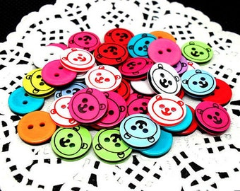50 Mixed Teddy Bear Buttons - Resin Two Hole (13mm)