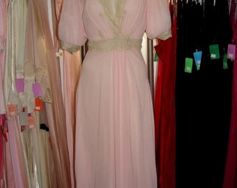 Vintage silk bias cut Parisian 1930's 1940's pink peach ecru lace gown