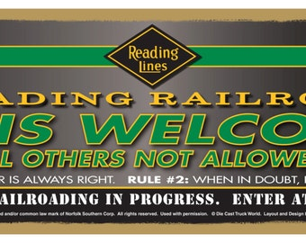 "Reading Railroad Logo ""Fans Welcome"" Wood Plaque / Sign / Man Cave"
