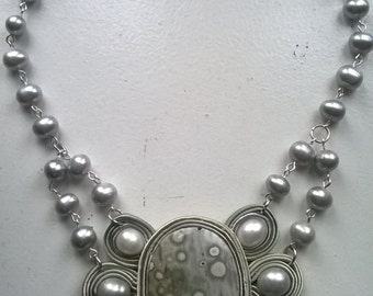 Soutache necklace with ocean jasper and freshwater pearls
