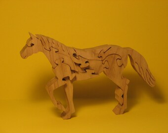 wooden jig saw horse puzzle  free standing wooden puzzle  hand made HORSE trotting horse  unique gift  stand alone horse puzzle