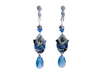 Something blue earrings, Teardrop earrings, crystal drop earrings, bridal earrings, blue earrings, something blue, bridal earrings, bridal