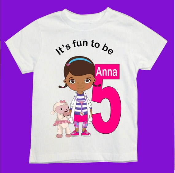 Doc mcstuffins birthday shirt personalize your design by for Doc mcstuffins birthday girl shirt