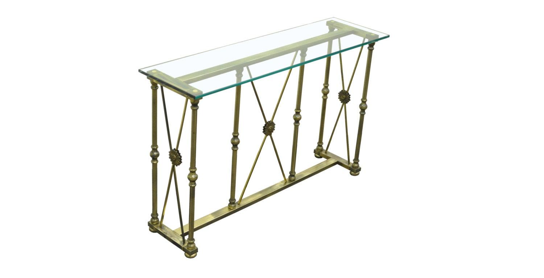 Vintage hollywood regency mastercraft x stretcher brass - Table haute console ...