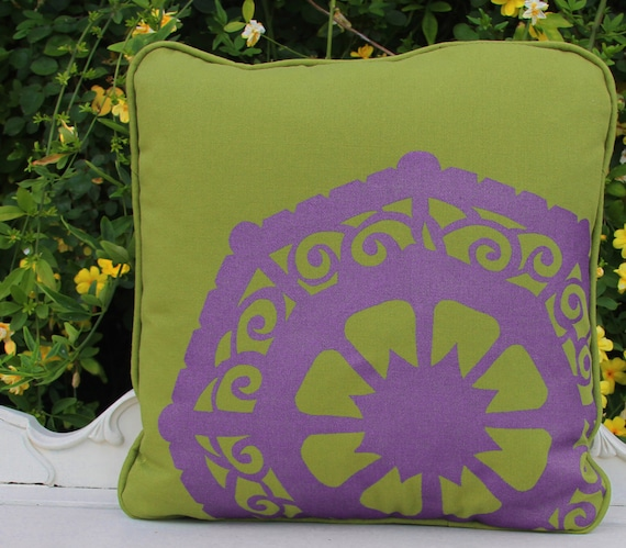 Paradise Art Deco Unusual Pillow Green and Purple Mandala Hand Printed Bright Accent Pillow Cover 18 Inch Throw Pillow Decorative Statement