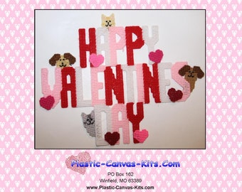 Valentine's Day Wall Hanging-Dogs and Cats-Plastic Canvas Patter-PDF File