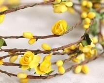 6PCS-40CM Berry Twig Branch For Floral Arrangemanet Wedding Craft Garland Decoration Bridal Hair Yellow Paper Flower Crown Accessory