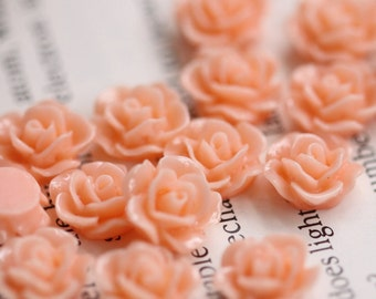 20pcs 20MM Resin Flower Flat Back Pink Resin Cabochon (No Hole)