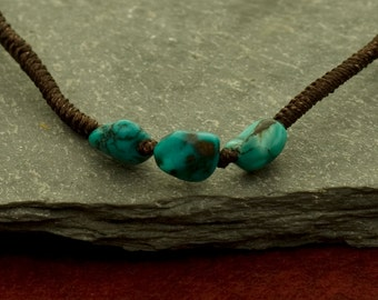 """16"""" Hand knotted cord necklace with turquoise stones"""