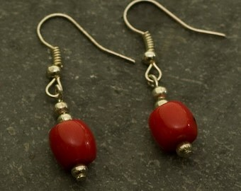 Jewelry for Bema Red Coral Bead with Silver Spacers Hook Earrings