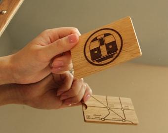 Wooden Oyster card/travel card holder - Oak - London Tube - 2 sided design