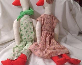 Vintage Handmade Stuffed Mr. And Mrs. Goose Dolls.