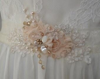 Vintage inspired romantic style bridal sash, vintage belt sash, bridal belt, bridal sash, floral belt sash, wedding dress belt sash, sash