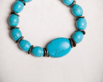 Bracelet - Turquoise bracelet - Blue turquoise and antique bronze.