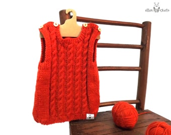 Red baby vest / knitted baby vest / merino wool baby vest