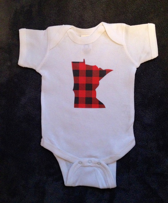 Baby Onesie Plaid Minnesota by LJDesignsMN on Etsy