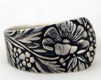Floral Flower Sterling Spoon Ring