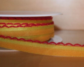 Mustard Ribbon with Pink Picot Edge Piping 11mm