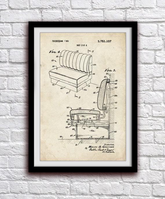 Restaurant Bench Kitchen Dining Room Decor Patent Print