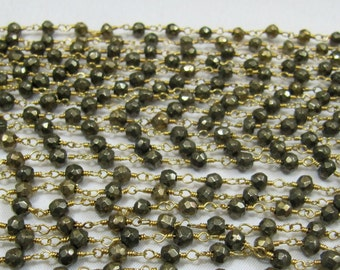 AAA Quality Natural Pyrite Beaded Chain - Natural Pyrite Beads wire wrapped .Rosary Style Bead chain, Pyrite Bead Chain