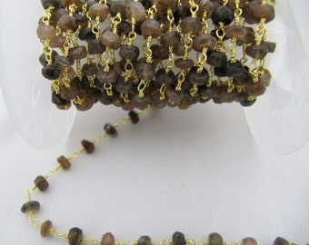 Wholesale Chain Andalusite Wire Wrapped Chain -Beautiful Andalusite Rosary Bead Chain sold PER FOOT