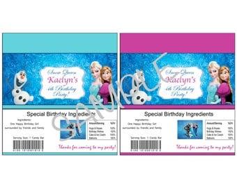 Frozen birthday Candy Bar Wrapper
