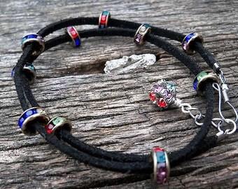 Black Leather Wrap Bracelet with Multicolor Rondelles