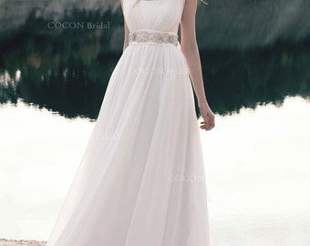 "Bohemian Wedding Dress from chiffon and bodice lace and embroidery belt with crystals Made by order - ""Ischia"""