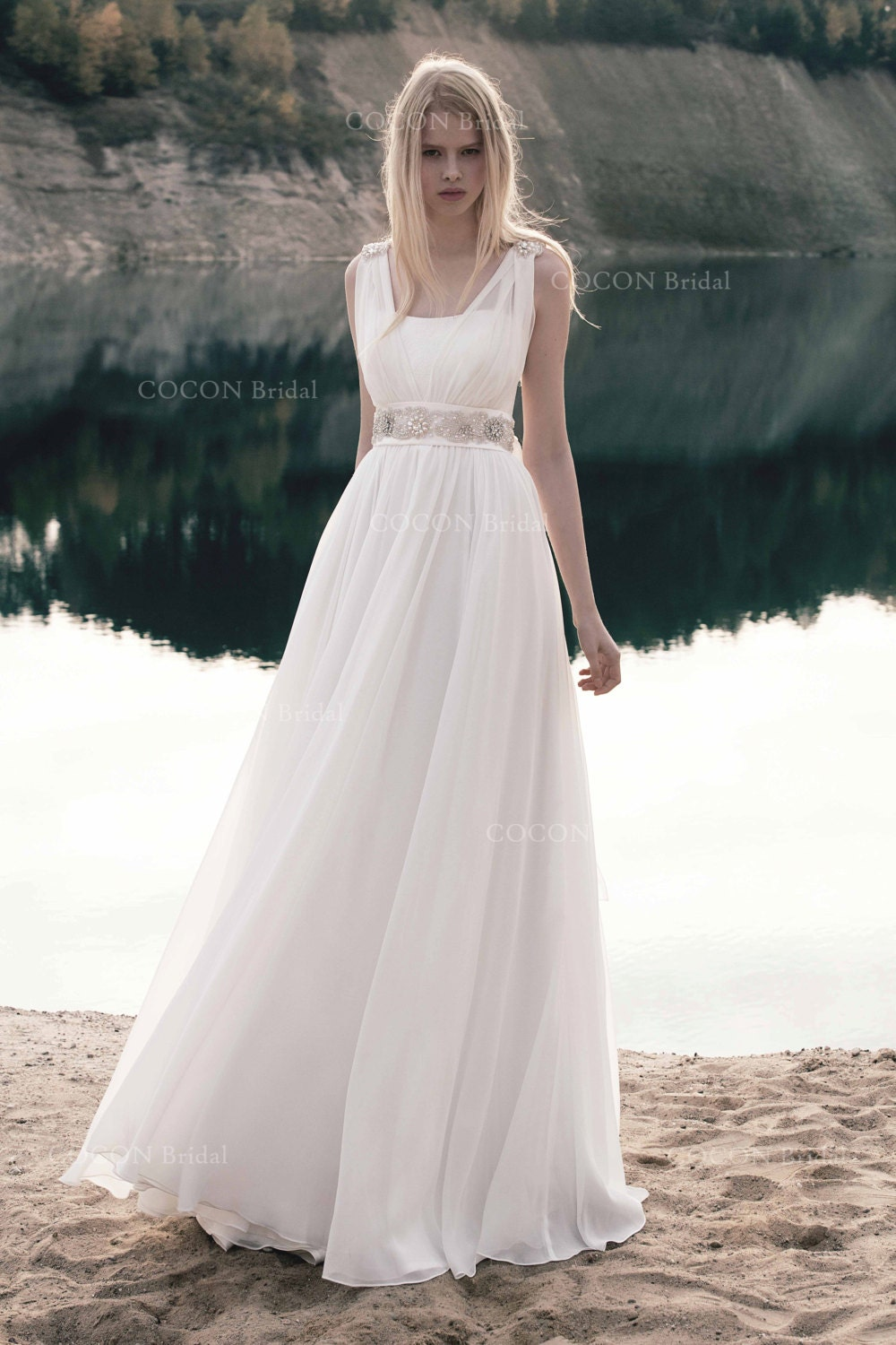 Bohemian Wedding Dress From Chiffon And Bodice Lace And